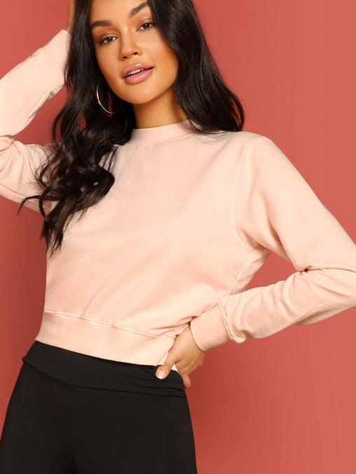 Pink Crew Neck Pullover Banded Edge Sweatshirt