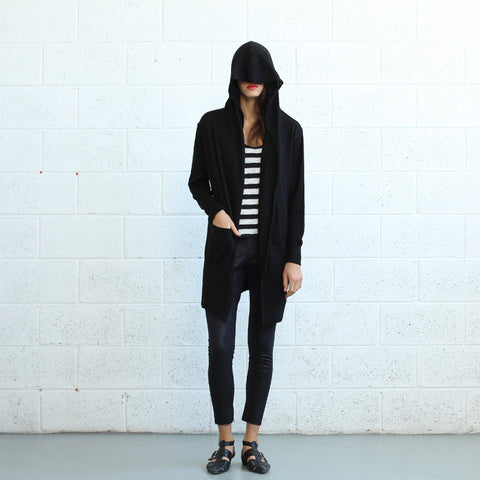 Shirts - Women's Trendy Black Hooded Long Sweater