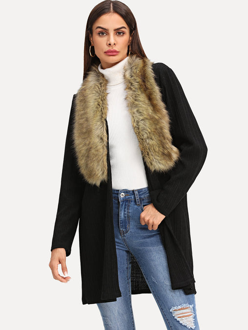 Black Open Front Faux Fur Neckline Coat