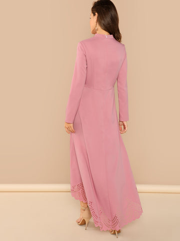 Pink Scallop Edge Laser Cut Asymmetrical Dress