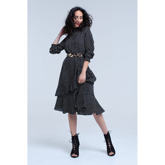Black High Neck Long Sleeve Midi Dress