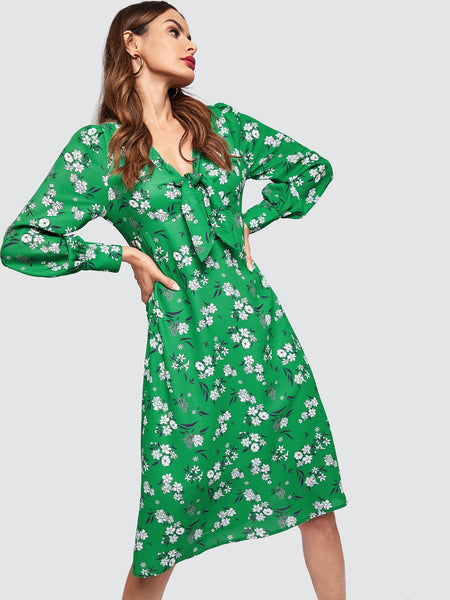 Green Knot Front Floral Midi Dress