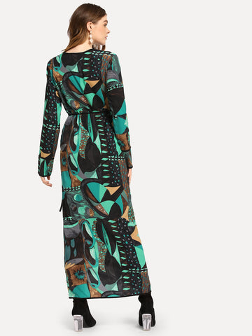 Formal Dresses - Women's Trendy Multicolor Surplice Neck Graphic Print Dress