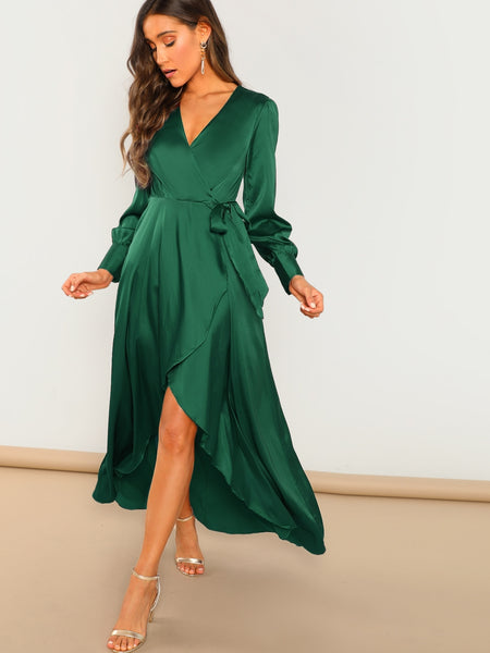 Green Solid Surplice Wrap Knot Dress