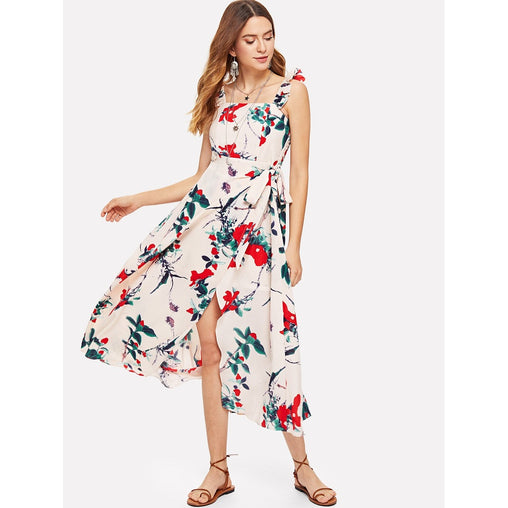 Apricot Knot Side Overlap Floral Print Dress