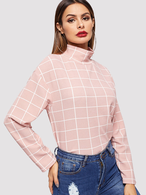 High Neck Grid Print Blouse