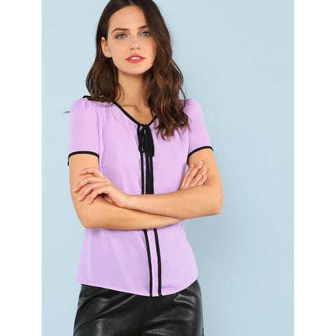 Sweatshirts - Women's Trendy Purple Round Neck Short Sleeve Shirt