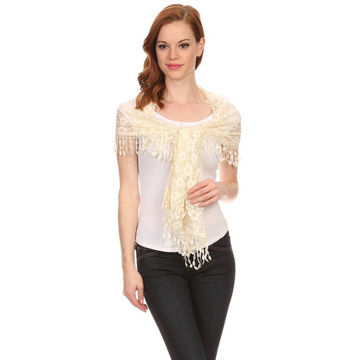 Womens Flower Lace Scarf With Tassels