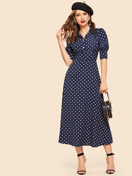 Navy Blue Polka Dot Print Half Long Dress