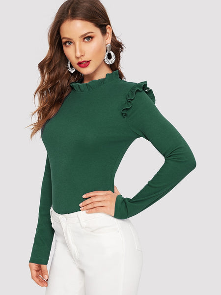 Green Frill Trim Rib Fitted Top