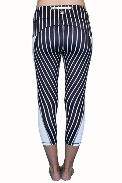 Black and White Vertical Stripe Activewear Bottom