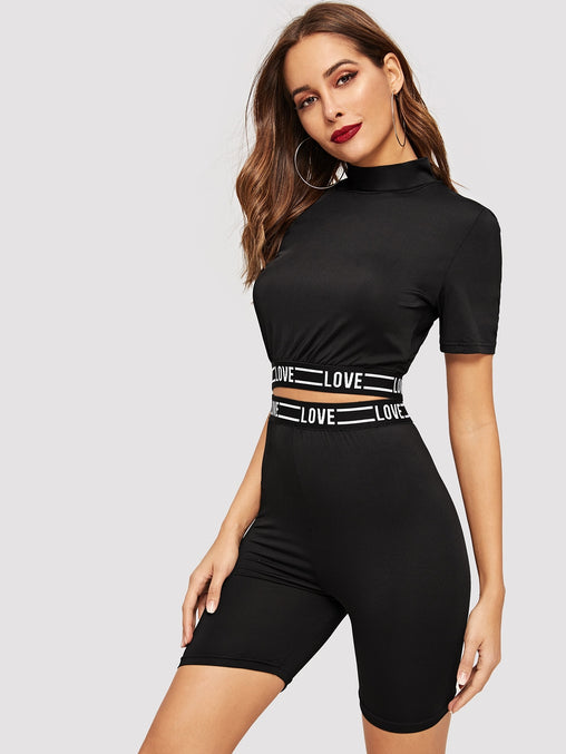 Black Letter Tape Top and Cycling Shorts Set