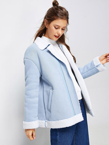 Faux Fur Lined Zip Up Coat