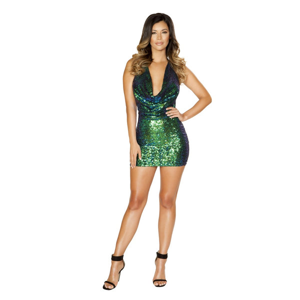 Plus Size Cowl Neck Sequin Cocktail Dress