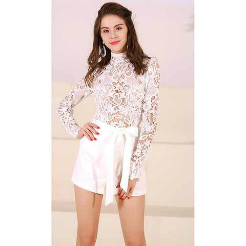 White Long Sleeve Playsuit