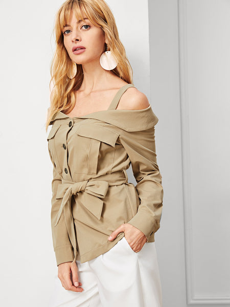 Khaki Cold Shoulder Multi Pocket Belted Casual Top