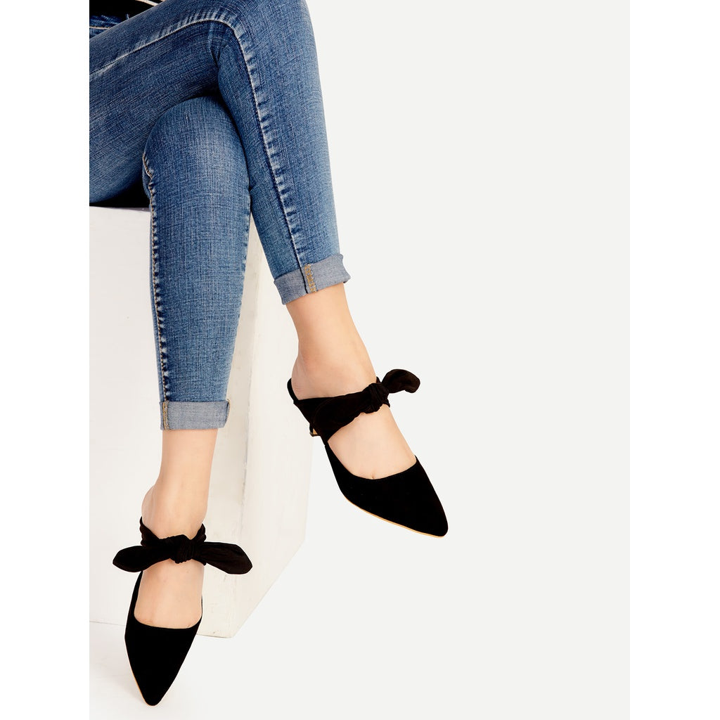 Black Point Toe Bow Tie Heeled Mules - Fashiontage