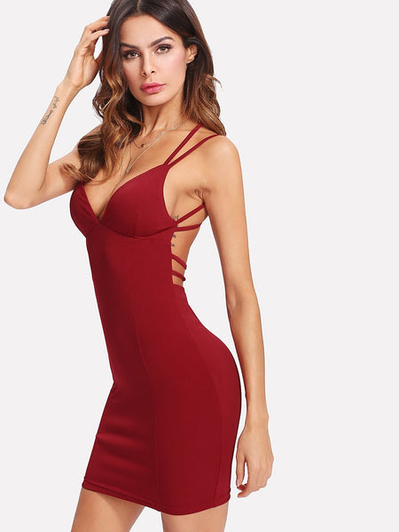 Burgundy Strappy Backless Fitted Mini Dress