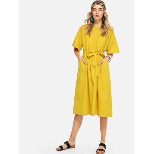 Yellow Self Tie Dual Pocket Front Dress