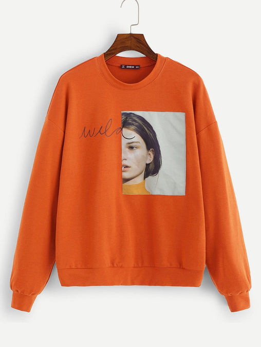 Orange Round Neck Long Sleeve Sweater