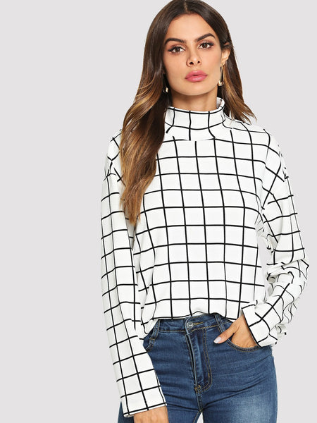 Black and White High Neck Grid Print Top