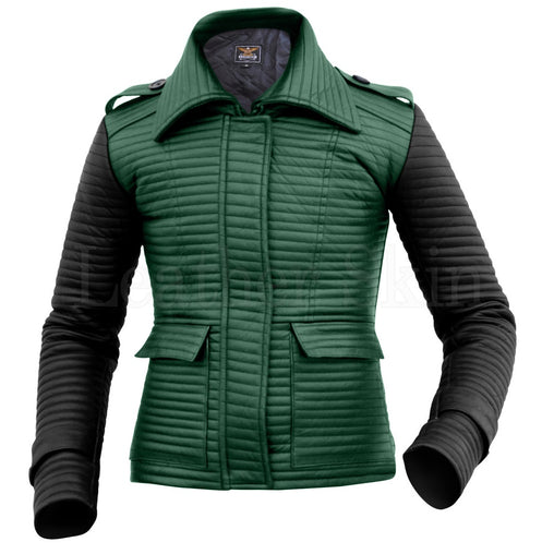 Plus Size Green Biker Jacket