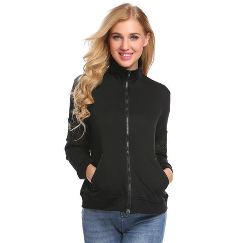 Jackets - Women's Trendy Black Collar Casual Jacket