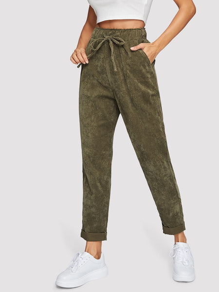 Army Green Waist Cord Tapered Pants