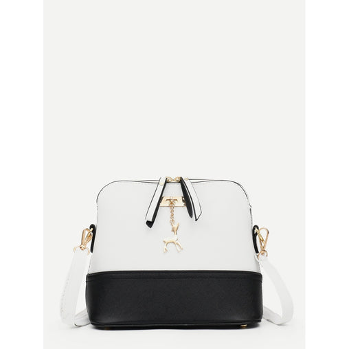 2ab2cf857d750 Black And White Two Tone Detail Metal Deer Shoulder Bag