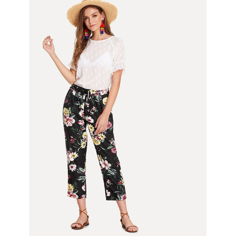 Tapered Pants - Women's Trendy Multicolor Mid Waist Flower Print Tapered Carrot Crop Pant