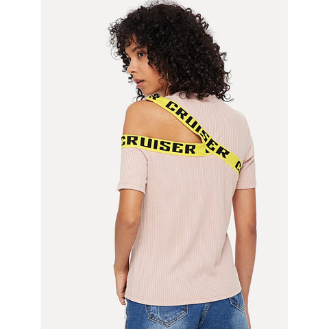 Tops - Women's Trendy Pink Letter Printing Tape Detail Cutout Ribbed Tee