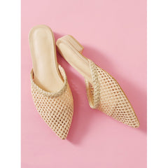 Apricot Pointed Toe Woven Flats