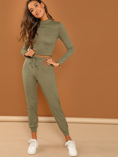 Army Green Fitted Crop Top & Pant Set