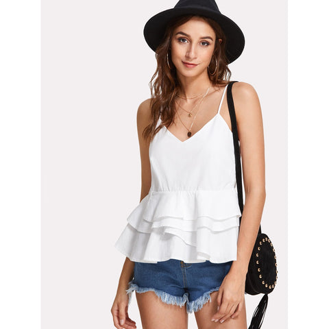 Sweatshirts - Women's Trendy White Spaghetti Strap Flared Blouse