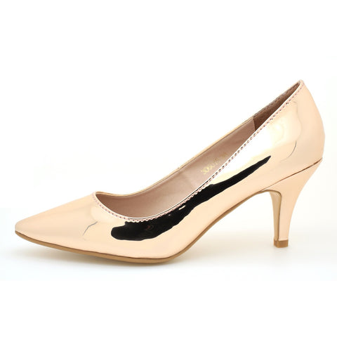 Pumps - Women's Trendy Rose Gold Leather Pointed Toe Pumps