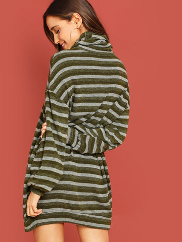 Casual Dresses - Women's Trendy High Neck Striped Tunic Dress