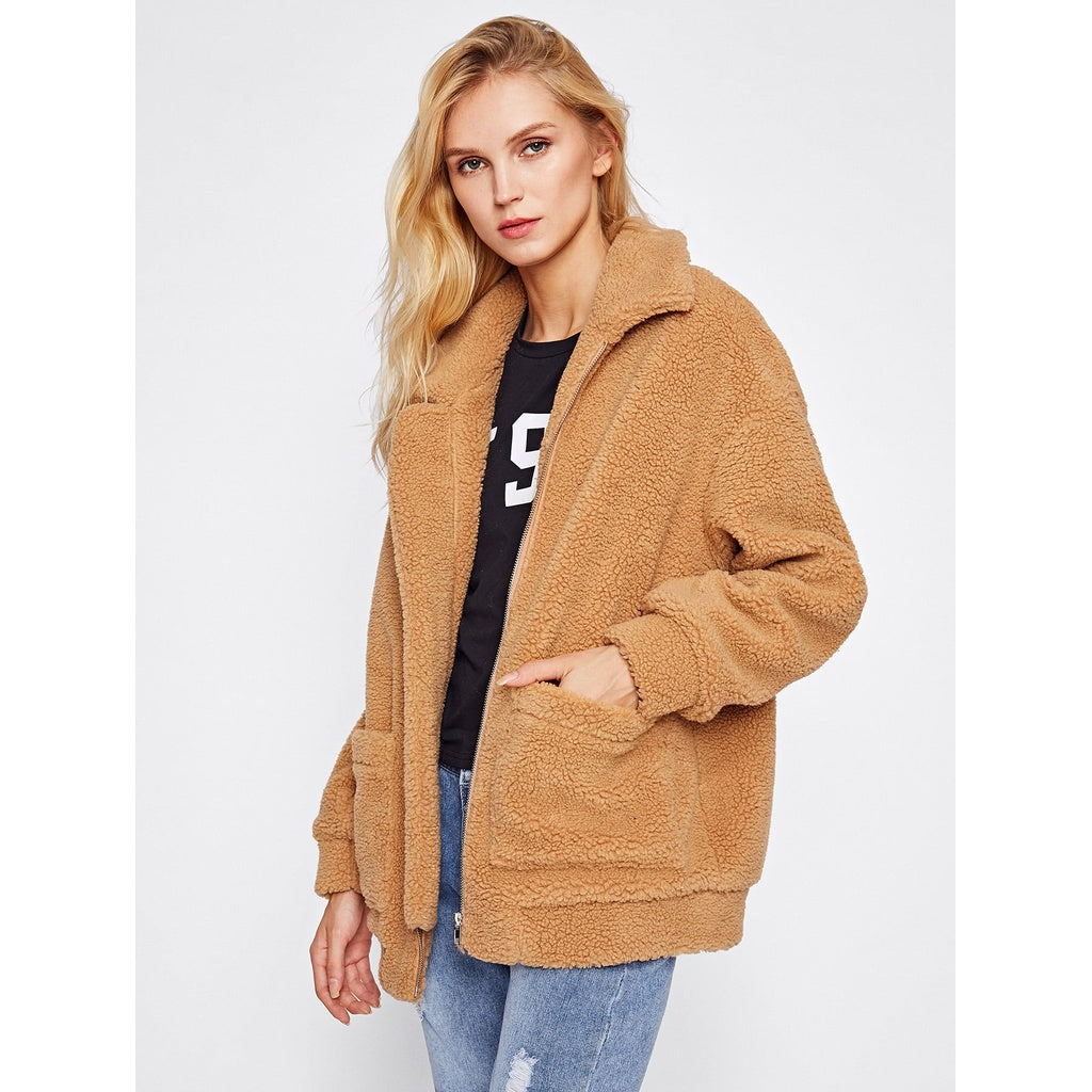 Drop Shoulder Oversized Fleece Jacket - Fashiontage
