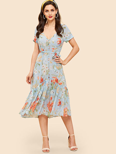 Blue Ruffle Hem  Tieback Floral Dress