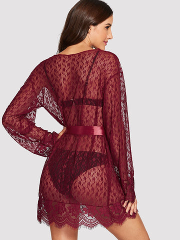 Bras - Women's Trendy Burgundy Eyelash Floral Print Lace Robe With Thong