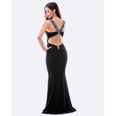 Black Full Length Beaded Evening Dress W/ Split