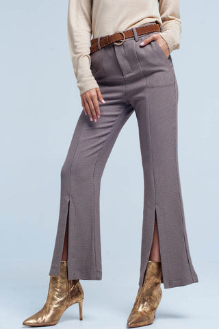 Leggings - Women's Trendy Beige Split Flare Leg Pant