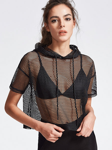 Black Drop Shoulder Crop Fishnet Hooded T-Shirt