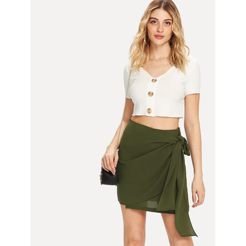 Army Green Knot Side Solid Skirt