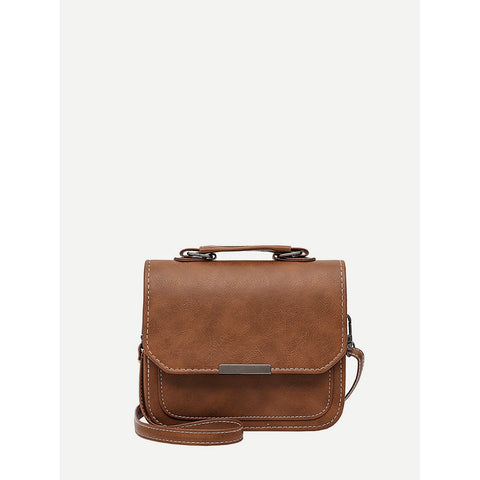 Brown Metal Detail Flap Pu Shoulder Bag - Fashiontage