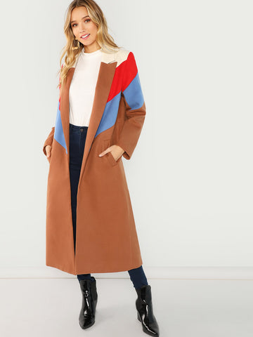 Bikinis - Women's Trendy Brown Color Block Longline Coat