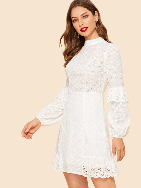 White Ruffle Detail Sleeve Laser Cut Short Dress