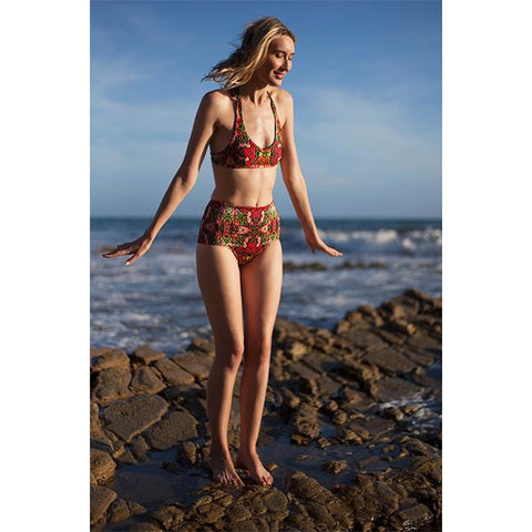 Red Flower Print Swimwear