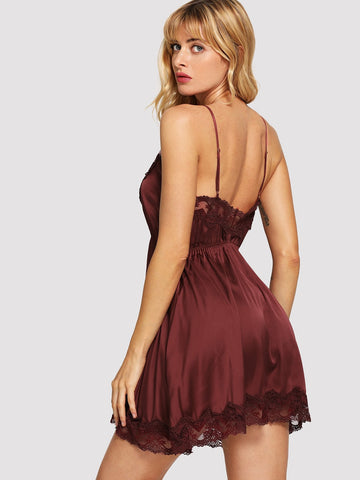 Bras - Women's Trendy Burgundy Contrast Lace Cami Dress With Panty