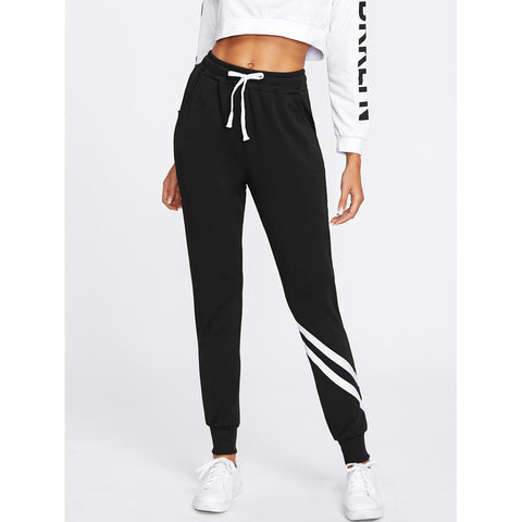 Sweatpants - Women's Trendy Black Mid Waist Sporty Sweatpant