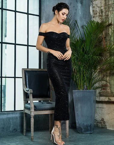 Day Dresses - Women's Trendy Black Off Shoulder Cocktail Dress